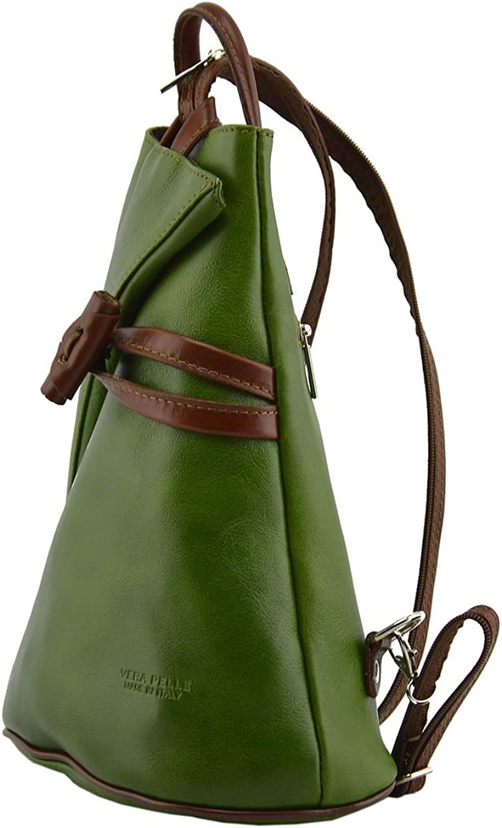 Leather Backpack for Women with Zipped Straps Color Green