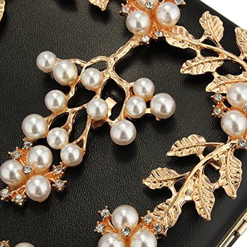Evening Wedding Beaded Gold Pearl Bags Evening For Bride Satin Flower Women's Handbag Clutch Prom qEpn1