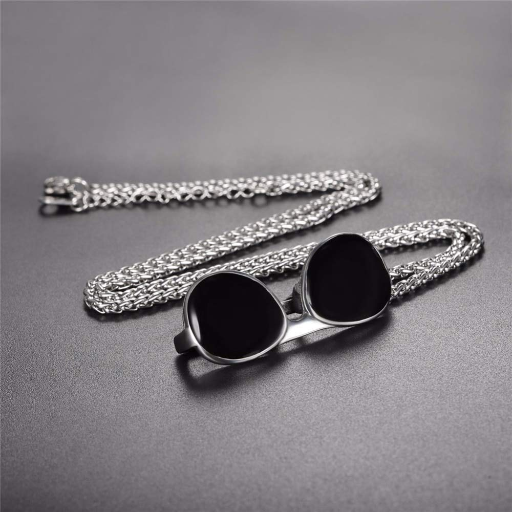 Davitu U7 Necklace Black Enamel Sunglasses Stainless Steel Pendant /& Chain Gold Color Christmas Gift Unisex New Jewelry Necklaces P1141 Metal Color: 316L Stainless Steel