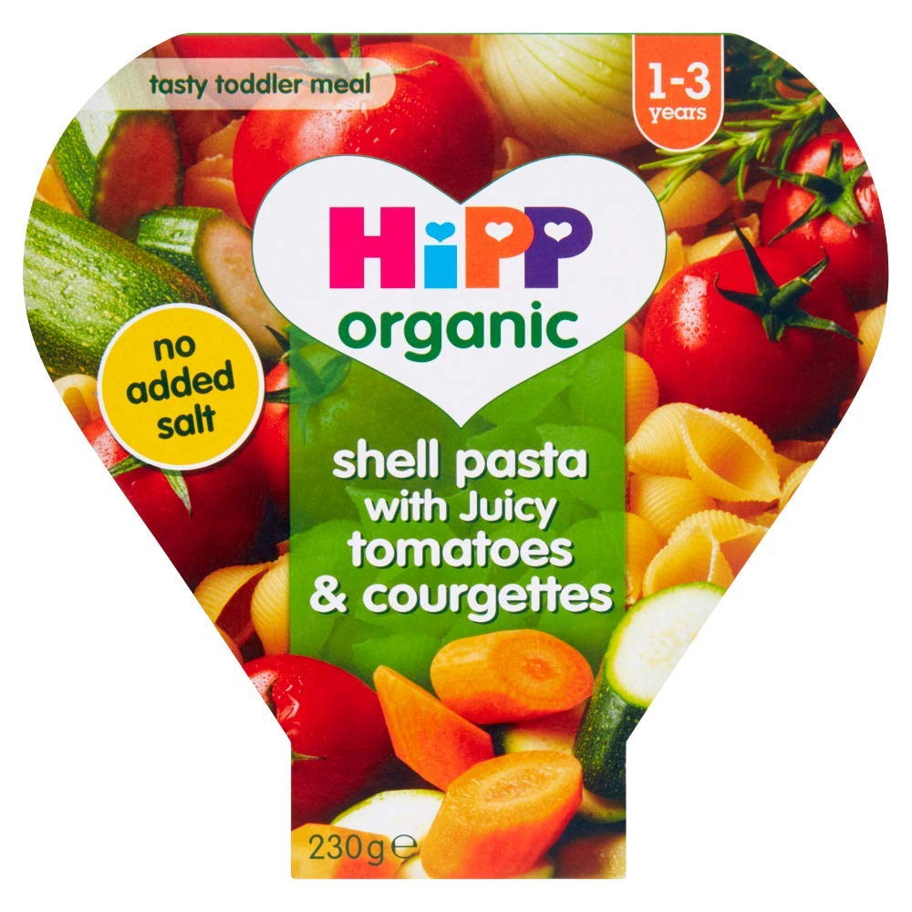 HiPP Organic Shell Pasta with Juicy Tomatoes & Courgettes Toddler Tray Meal 1-3 Years, 230g (Pack of 5)