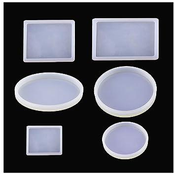WeiMeet Moldes grandes de resina de silicona, moldes redondos cuadrados para hacer joyas y manualidades (6 unidades): Amazon.es: Juguetes y juegos