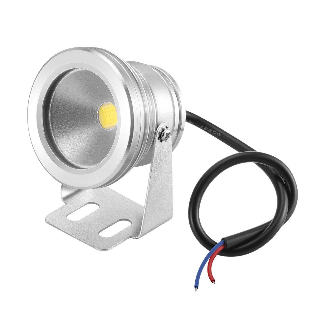 Lemonbest 10w 12v Silver LED Underwater Flood Light, IP67 Water-resistant Landscape Fountain Lamp, Warm White