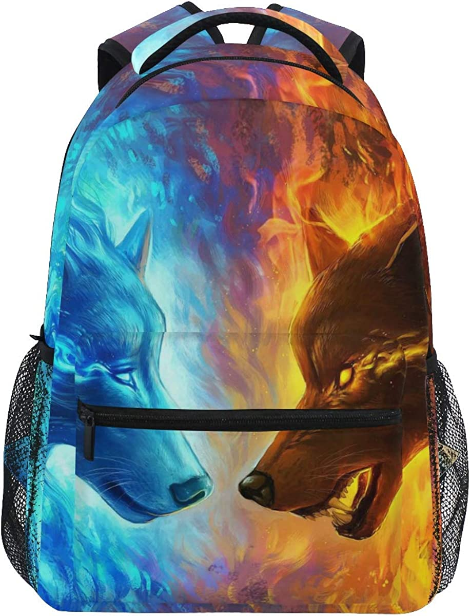 Fire And Ice Wolf Backpacks Bookbag Shoulder Backpack Hiking Travel Daypack Casual Bags For Boys Girls