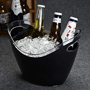 WYMESW Ice Beverage Tub, Clear Acrylic Ice Bucket,Insulated Wine Chiller Cooler,Beverage Party Tub Wine Bucket for Wedding Events BBQ-c 26x20x16cm(10x8x6inch)