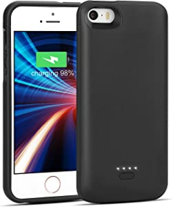 iPhone 5/5S/SE Battery Case, Wavypo 4000mAh Charging Case Slim Rechargeable Charger Case External Battery Pack Portable Power Protective Case for iPhone 5, 5S, SE-Black (NOT FIT 5C, 2020SE)