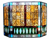"Chloe Lighting Tiffany-Glass 3pcs Folding Mission Fireplace Screen 44"" Wide"