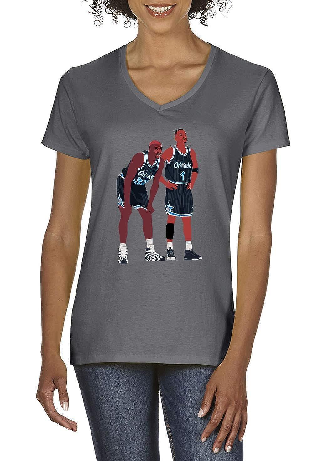 0b3c30965b0 Grey Orlando Shaq Penny Pic Ladies V-Neck T-Shirt at Amazon Women s Clothing  store