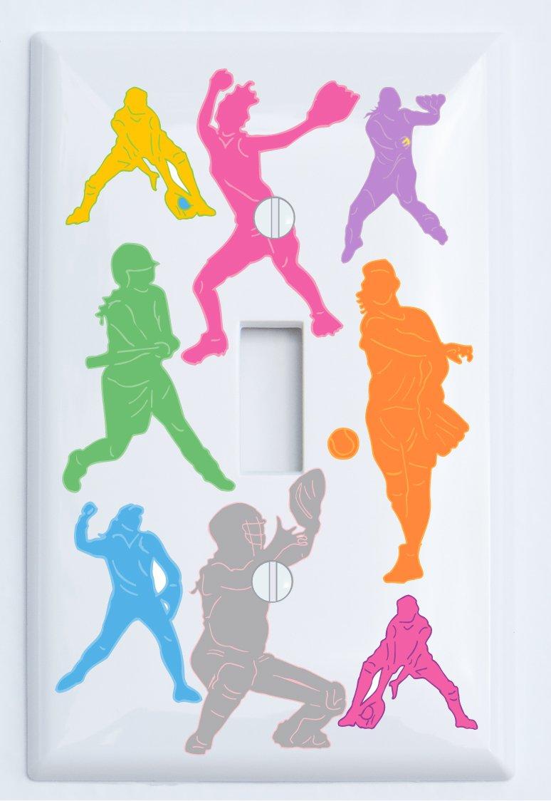 Presto Chango Decor Girls Softball Light Switch Plate/Single Toggle/Softball Room Decor (Single Toggle Switch Plate)
