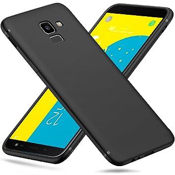 Peakally Funda Samsung Galaxy J6 2018, Negro TPU Suave Funda para Samsung Galaxy J6 2018 Carcasa Flexible Ligero Fundas [Resistente a arañazos] ...