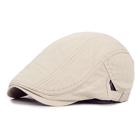 9246c6697f3 DecStore Pack of 2 Men s Cotton Flat Cap Ivy Cabbie Driving Hat Summer  Newsboy Cap(Beige+Black)(Size  One Size)  Amazon.co.uk  Clothing