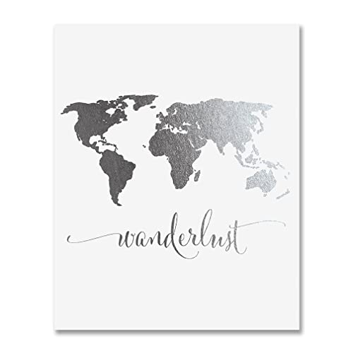 Amazon.com: Wanderlust World Map Silver Foil Art Print Travel World ...