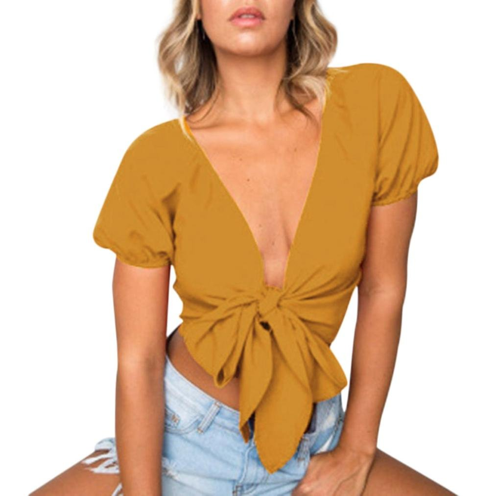 TIFIY Frauen Frauen Verband Casual Tank Crop Tops Sommer Solide Grundlegende Weste Bluse Pullover Kurzarm T-Shirt TIFIY-tops-0514