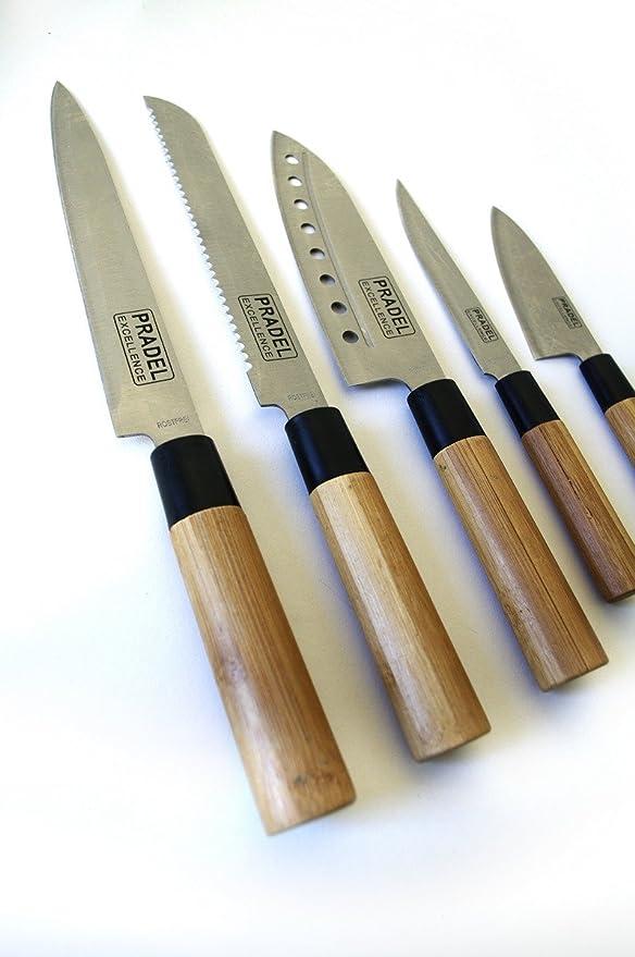 Pradel Cuchillo de Cocinero, bambú, Marrón