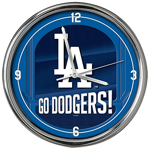 The Memory Company MLB Los Angeles Dodgers Go Team! Chrome Clock, One Size, Multicolor