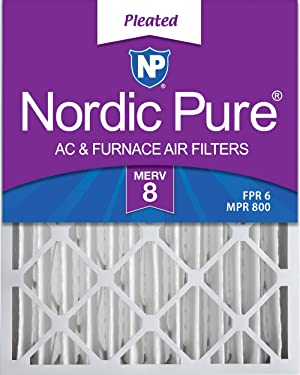 Nordic Pure 16x25x4 MERV 8 Pleated AC Furnace Air Filters 2 Pack