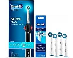Oral-B Cepillo De Dientes Eléctrico Recargable Pro 2000 1 Unidad + 4 Repuestos Precision Clean