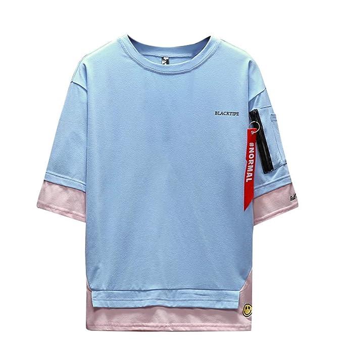 Camisetas para Hombre, YpingLonk Dos Piezas Falsas T-Shirt Suelto Camisa Verano Cuello Redondo Casual Media Manga tee: Amazon.es: Ropa y accesorios