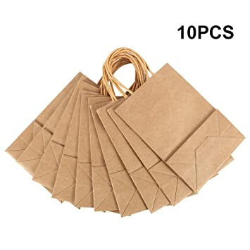 Amazon.com: Scorpiuse Kraft bolsas de papel con asas ...