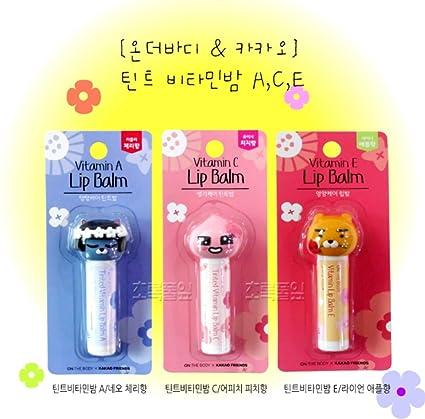 KAKAO PRIENDS Aroma manzana bálsamo para los labios húmedo y labios agente protector vitamina de durazno