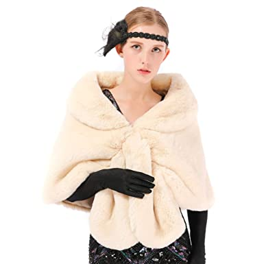 09039f983 Dikoaina Luxury Faux Fur Shawl Wrap Stole Shrug Winter Bridal Wedding Cape  at Amazon Women's Clothing store:
