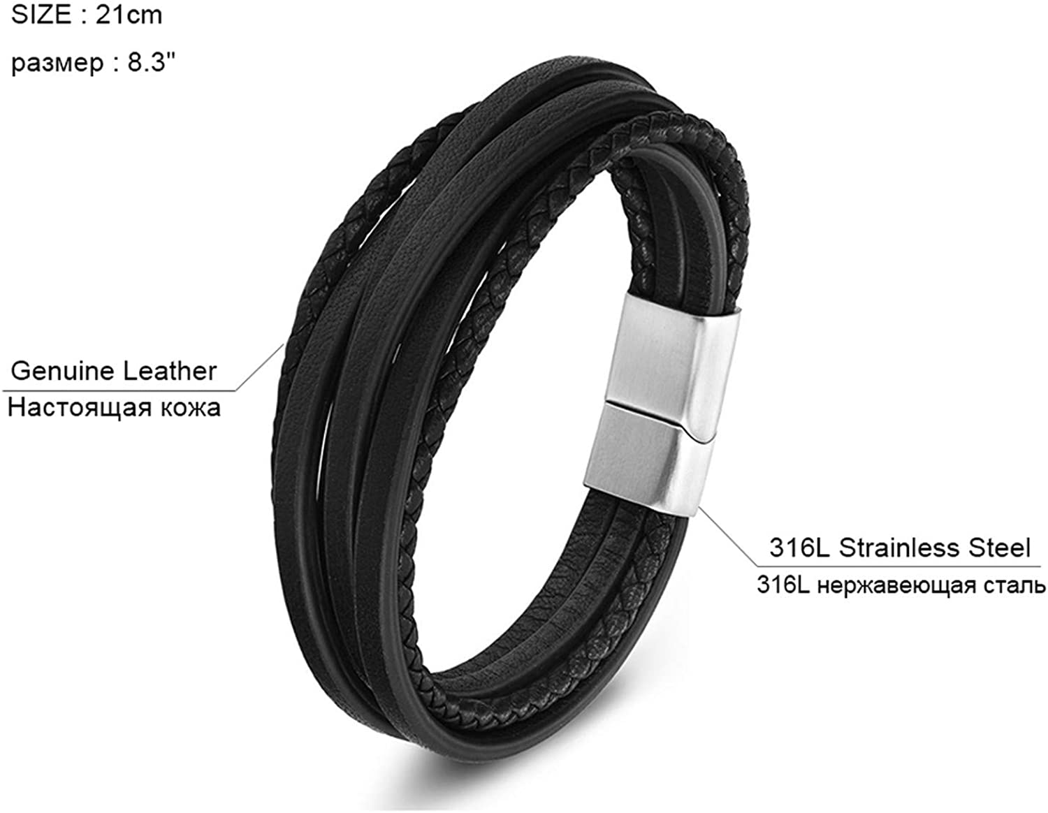 B0813LM2JS 2019 Fashion Stainless Steel Chain Genuine Leather Bracelet Men Vintage Male Braid Jewelry for Women 61E7XQeVjML