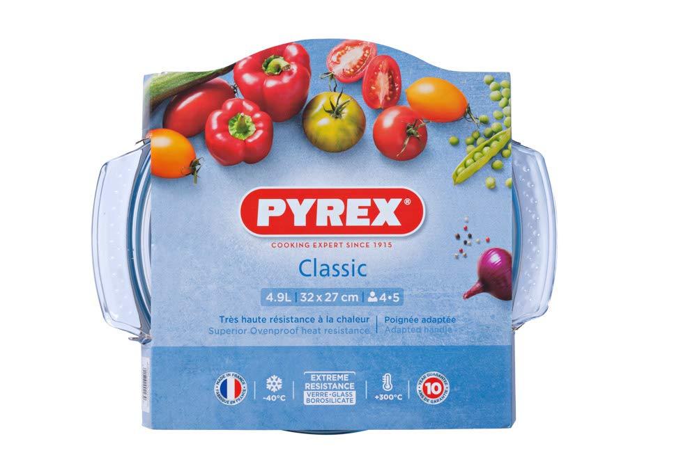 Pyrex Classic 1040704 - Cacerola redonda con tapa, 5L, vidrio ...