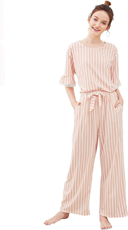 SweatyRocks Women's Cotton Pajama Set Lace Sleepwear Set Top and Pant Pj Set with Pockets
