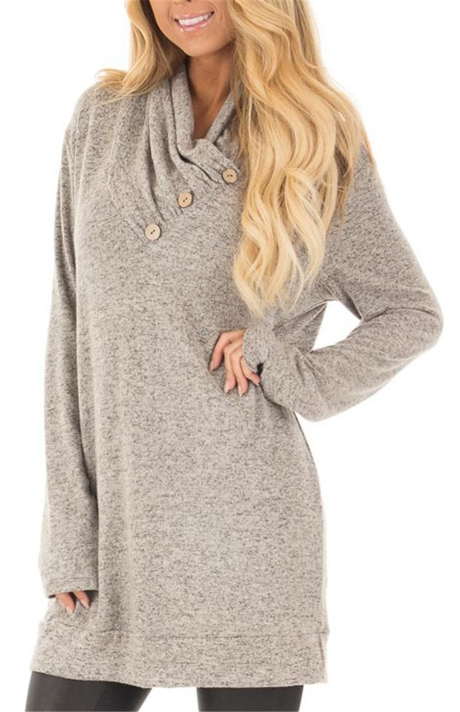 ETCYY Women's Long Sleeve Pullover Sweatshirt Button Cowl Neck Casual Tunic Tops,Gray,X-Large