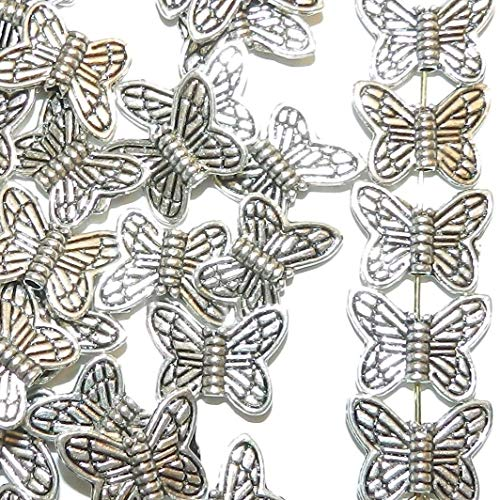 Pendant Jewelry Making Antiqued Silver 15mm Flat Textured Butterfly Metal Spacer Beads 25pc