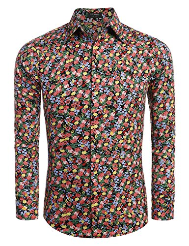 Pattern Mens Dress Shirt (Coofandy Mens Floral Slim Fit Long Sleeve Dress Shirt Casual Tops,Black1,X-Large)