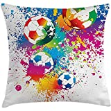 Throw Pillow Sports Decor Cushion Cover, Colored Splashes All over the Soccer Balls Score World Cup Championship Art Print, Decorative Square Accent Pillow Case, 18 X18 Inches, Multi