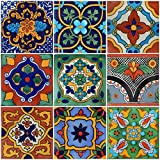 "Color y Tradicion 9 Mexican Tiles 4""x 4"" Hand Painted Talavera F- 40"