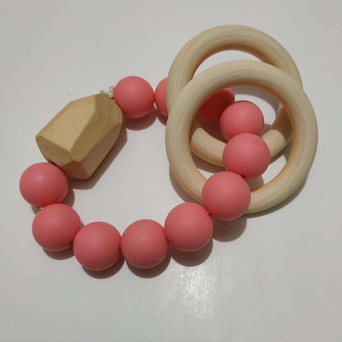 Mint Green Alenybeby 1pcs Mint Green Baby Teething Bracelet Natural Wood Teether Ring BPA-Free Silicone Teething Beads Toy