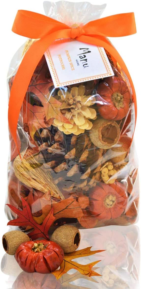 Manu Home Special Pumpkin Spice Potpourri Bag-12 oz Botanicals ~ Made with All Essential Oils, Plant Materials and Beautiful Fall Colors~ Made in USA