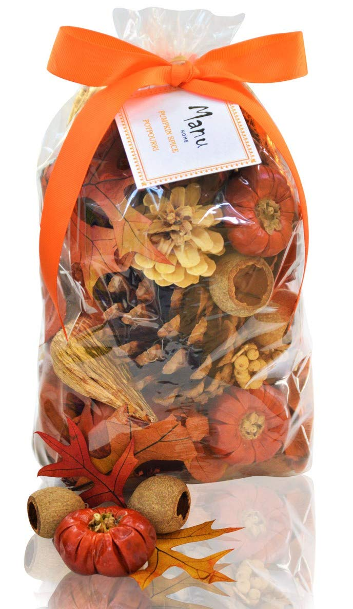 Manu Home Pumpkin Spice Potpourri Bag-12 oz Botanicals ~ Made with All Essential Oils, Plant Materials and Beautiful Fall Colors~ Made in USA by Manu Home