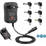 CUGLB Alimentation universelle 3 / 4,5 / 5 / 6 / 7,5 / 9 et 12 V AC / DC 2000 mA, 6 prises   Adaptateur de voyage avec port USB 5V 2.1A