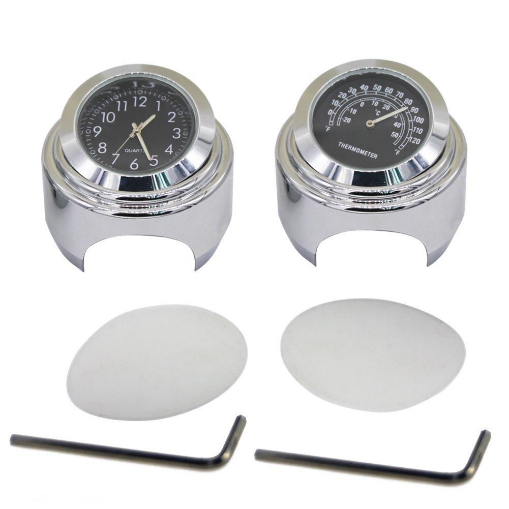 WINOMO 2pcs Motorcycle Handlebar Clock and Thermometer for Yamaha Kawasaki Honda Suzuki Harley Davidson (Black)