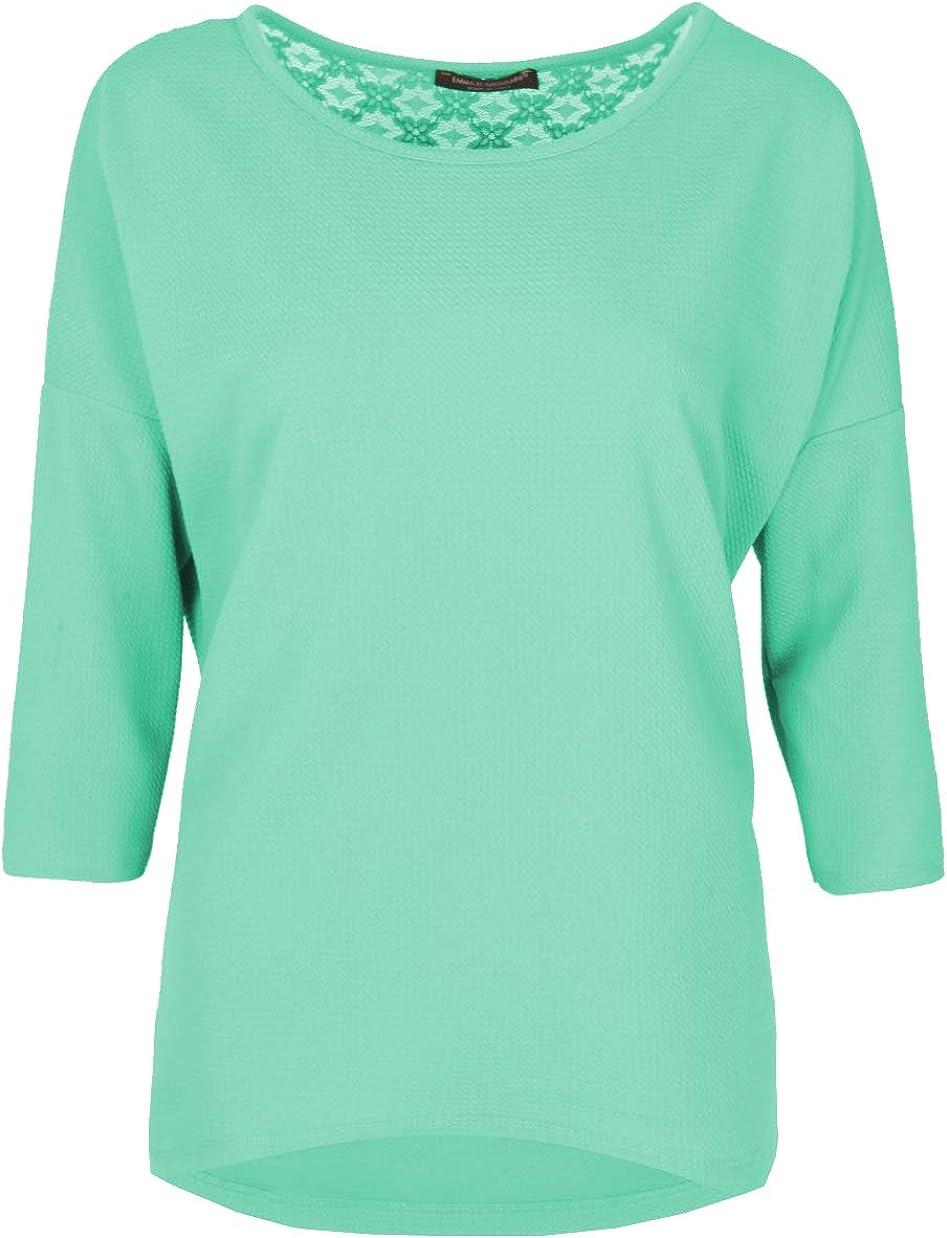 Emma /& Giovanni T-Shirt con Pizzo a Manica a 3//4 Donna