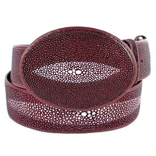 Original Burgundy Single Pearl StingRay Skin Western Style Belt (Lucchese Lizard Boots)