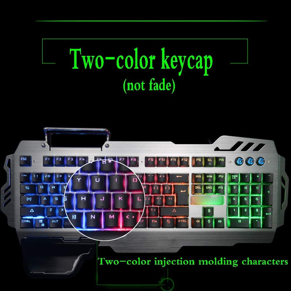 /& E-Sports Game Wired Keyboard Backlight//Hand Support Desktop Laptop Keyboard with Mobile Phone Bracket //-// Jian E