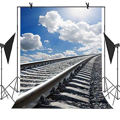(Meets 5x7ft Railway Landscape Backdrop Railroad Stone Road Blue Sky White Clouds Background Wedding Photography Studio Kiosk Props Theme Party YouTube Backdrop MT413)