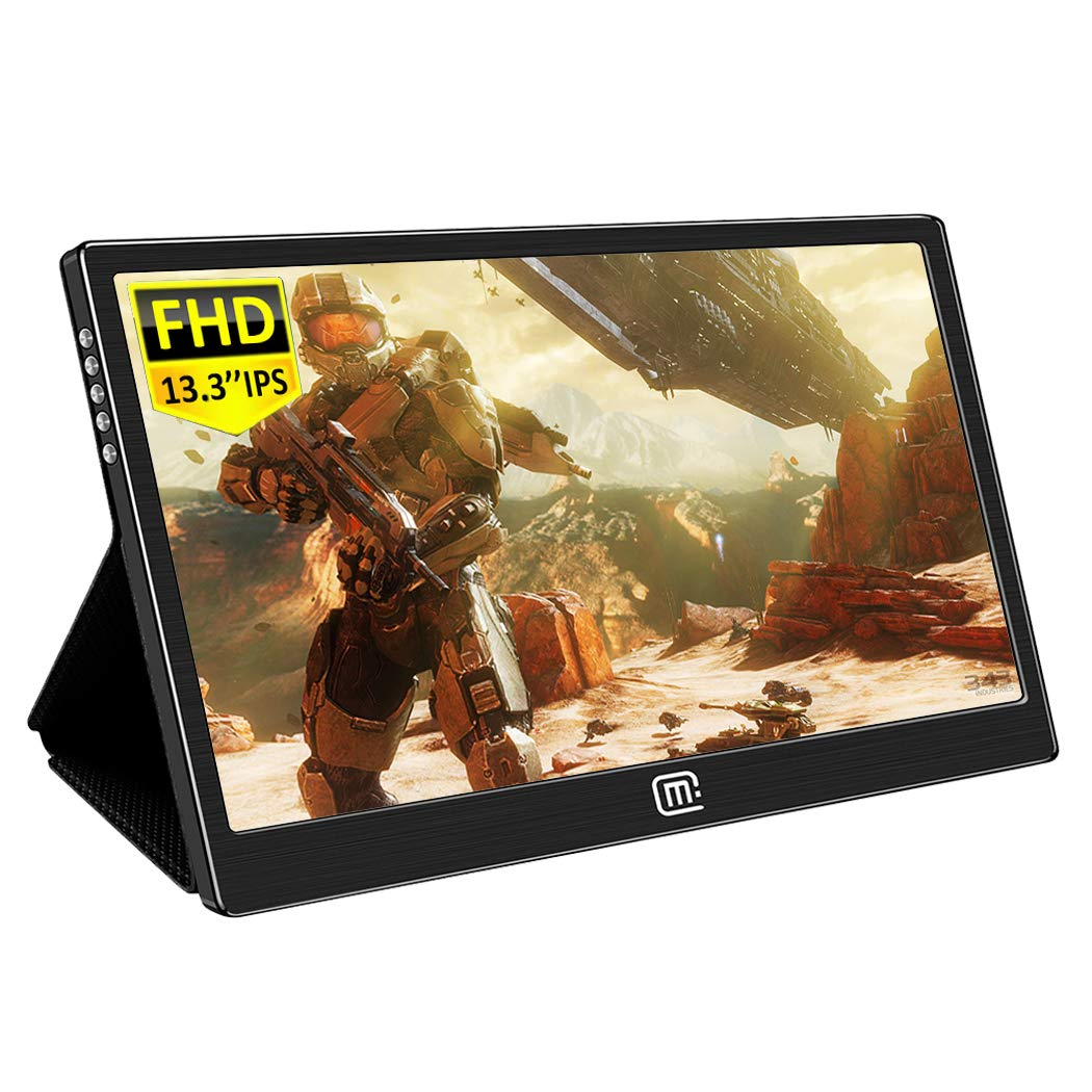 13.3 Inch Portable Monitor, Gaming Monitor IPS 1080P 16 9 Display Screen with HDMI USB C Interface Dual Speakers for Laptop Mac Cellphone PS3 PS4 Xbox Raspberry Pi Windows 10 Mini PC