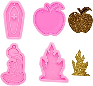 4PCS Keychain Silicone Molds Christmas Tree Apple Cross Lovely Mom Baby Style Resin Casting Mold for Jewelry Pendant Making Christmas Decoration Molds