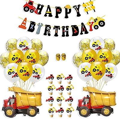 37 Piezas de construcción, Suministros para Fiestas de cumpleaños, Juegos de Decoraciones para Fiestas de Camiones volquete para niños, niños, ...