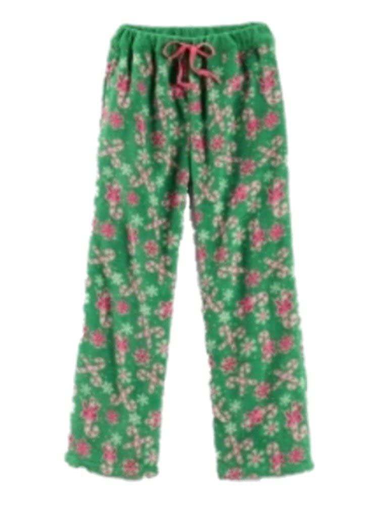 Girl Thing Girls Green Fleece Candy Cane Sleep Pants Pajama Bottoms