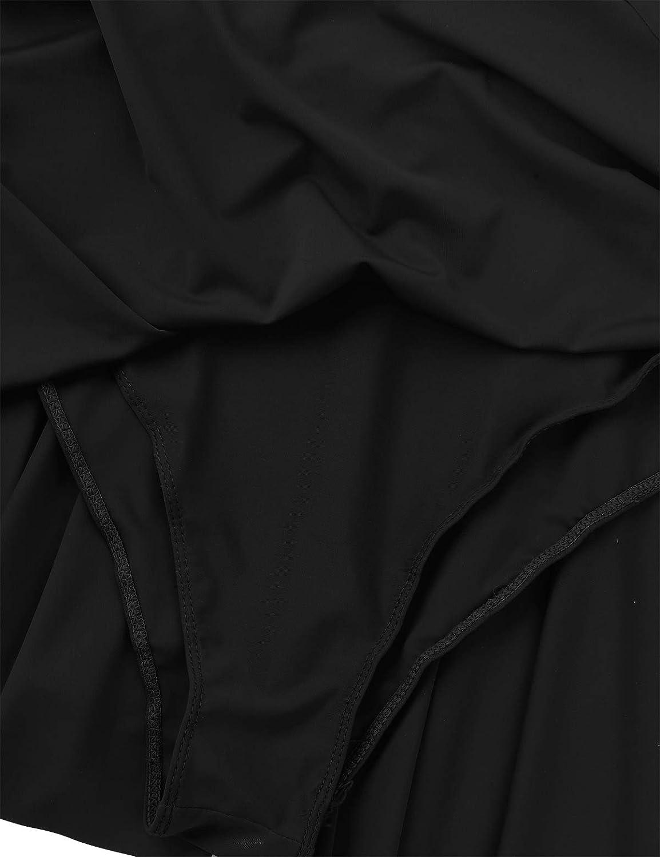IEFIEL Femme Justaucorps Ballet Danse Gymnastique Mini Robe Danse Classique Sweat-Shirt Haut de Danse Yoga Manches Longues D/écoup/é /Épaule Sportwear XS-XL