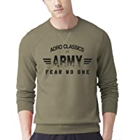 ADRO Men's Army Printed Cotton Pullover (Olive Green)