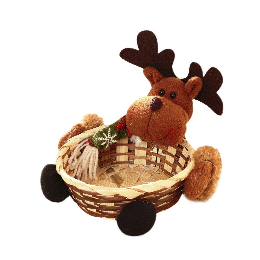 Liouhuble Christmas Basket-Xmas Candy Gift Storage Basket Santa Claus Decoration Elk Ornament (Elk)