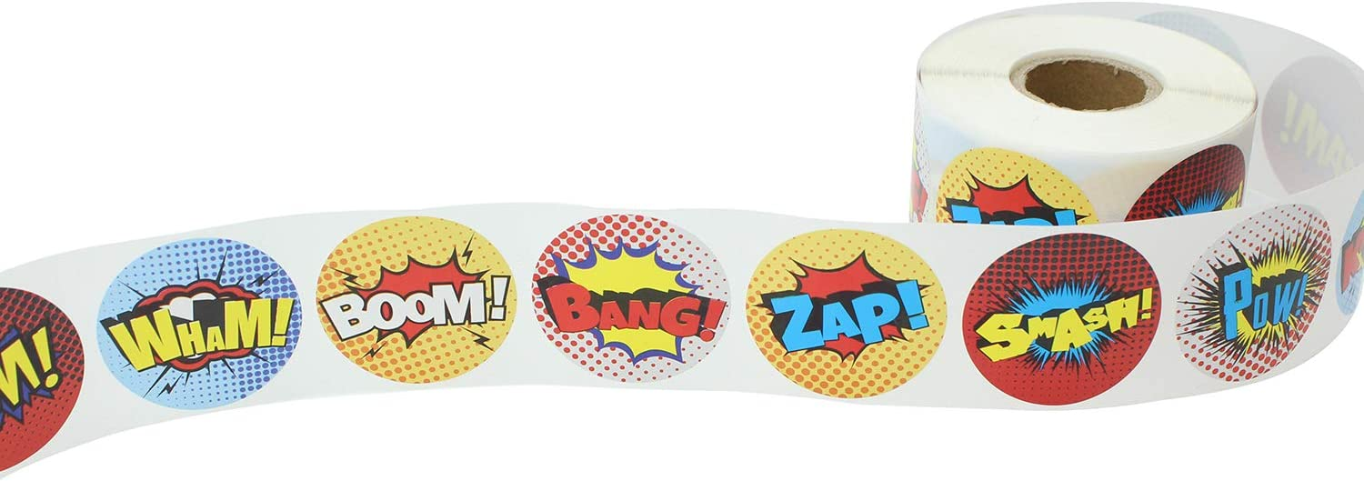 Fun Colorful perfect party favor and reward for kids Comic themed stickers 600 1.5 Superhero Stickers