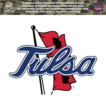 Tulsa golden hurricane operation hat trick oht die cut vinyl decal 24x24